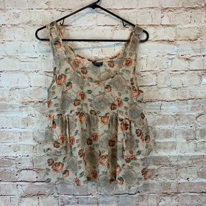 Topshop tank top blouse sz 8 tan floral short